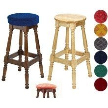 Tamara Wood Bar Stool - Padded / Unpadded Green Fabric Piped Upholstery Light Oak