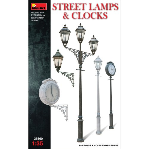 1:35 Miniart Street Lamps & Clocks Set Model Kit - 135 35560 Diorama Accessories -  miniart 135 street lamps clocks 35560 diorama accessories set