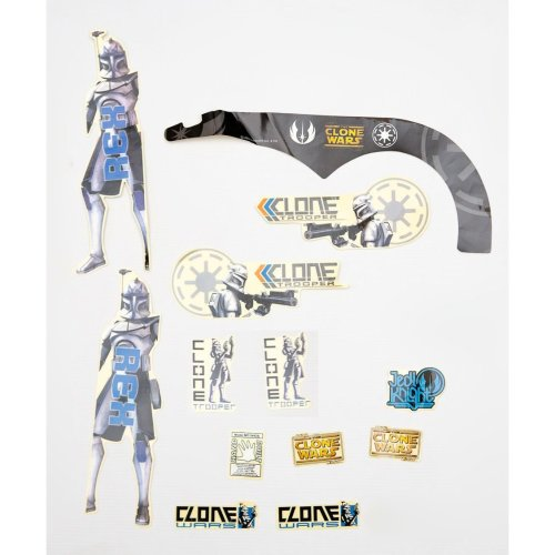 STAR WARS Kids BICYCLE Bike STICKER SET (Boys) REX in BLACK AND BLUE New