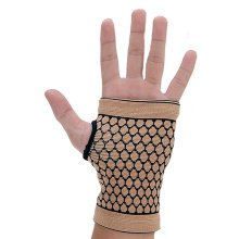 Pair of Elastic Palm Support Wrist Gloves Brace Hand Protector Gym Sports - Khak