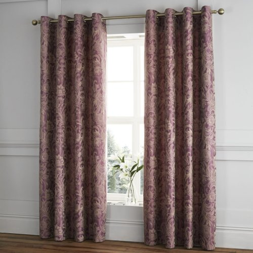 Catherine Lansfield Regal Jacquard Eyelet Curtains Plum, 66x72 Inch