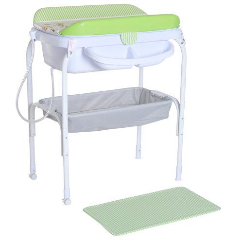 HOMCOM Folding Infant Bath Table Diaper Changing Station Nursery Storage Organiser Baby Changer w/ Tube Green