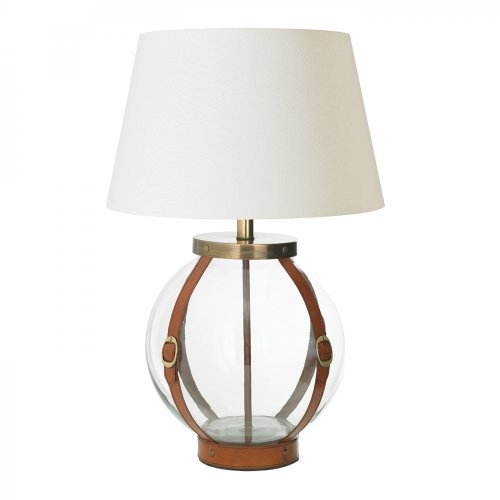 Tan Leather & Clear Glass Base Only Table 60W by Happy Homewares