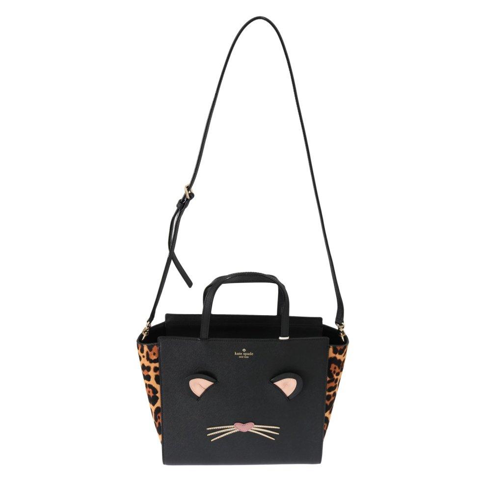 1718c8c101ec ... Kate Spade Black LEOPARD HAYDEN Leather Handbag - 1 ...