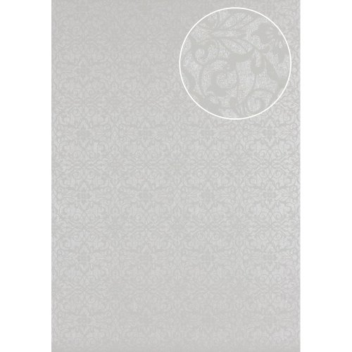 Atlas PRI-498-5 Baroque wallcovering wall shiny olive-grey pebble-grey 5.33 sqm
