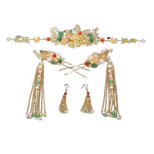 Chinese Ethnic Bride Costume Headdress Cheongsam Accessories Flow Comb Jewelry