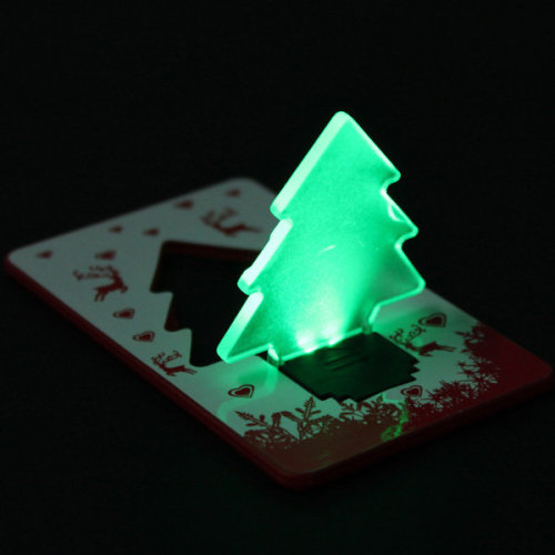 LED Christmas Tree Folding Pocket Card Night Light