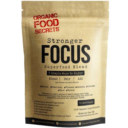 Stronger Focus Organic Superfood Powder Blend (250g), with 100% Natural Brahmi Powder, Camu Camu Berry Powder, Flaxseed, Ginseng Powder, Lucuma...
