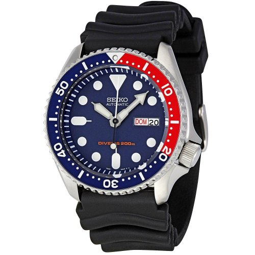 Seiko SKX009K1 Mens Automatic 200M Divers Watch - Black Belt with Blue Dial