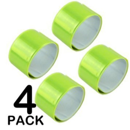 4 X High Visibility Arm Slap Strap Bands Reflective Safety Band Florescent Leg Arm