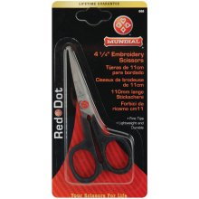 "Mundial Red Dot Embroidery Scissors 4.25""-Knife Edge"