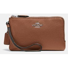 COACH Double Corner Zip Wristlet In Polished Pebble Leather - Saddle - 54813-SV/SD