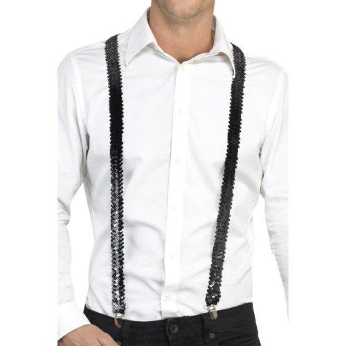 Black Sequin Costume Braces. -  adults sequin braces fancy dress costume accessory unisex suspenders gangster