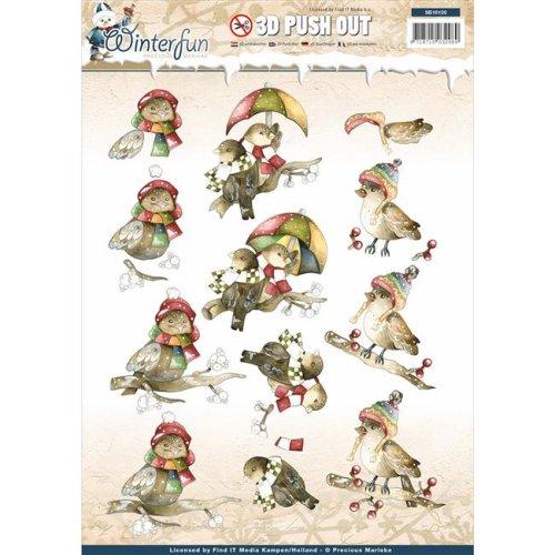 Precious Marieke Punchout Sheet - Winter fun Funny Birds