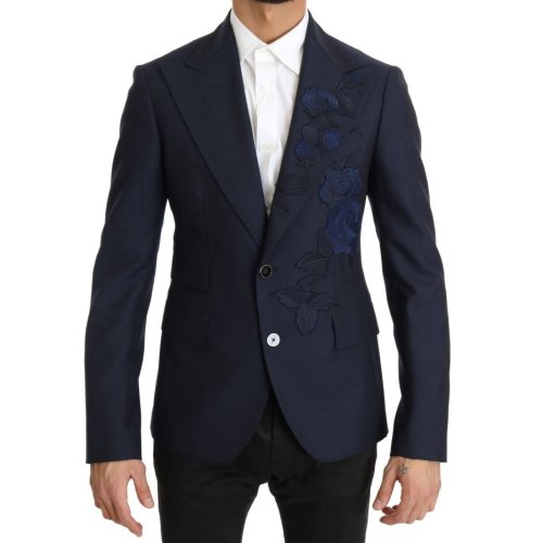 Dolce & Gabbana Blue Roses Embroidered Blazer