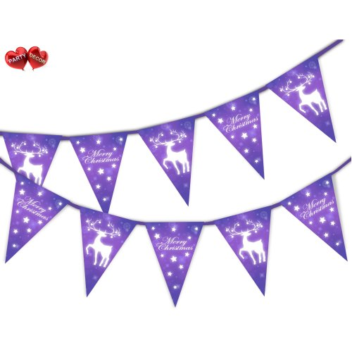 Merry Christmas Reindeer Purple Snowflake Bunting  by PARTY DECOR