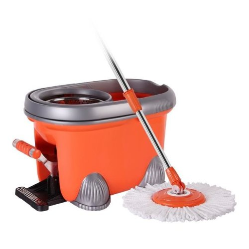 Arevo ARV-1001 Rocket Wet Spin Mop & Bucket with Foot Operated Easy Wring System, Washable Microfiber Cloth Broom