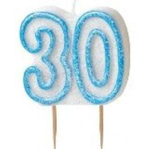 Age 30 Birthday Candle Blue Glitz