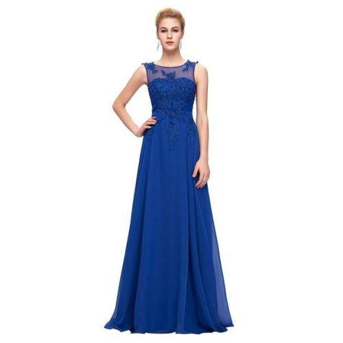 Long Bridesmaid Dresses Grace Karin Sleeveless Chiffon Pink Red Royal Blue Black Wedding Party Dress Formal Gowns Vestidos 2017