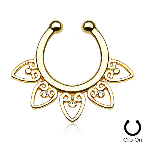 Gold Plate Tribal Fan with Clear Gems Non-Piercing Septum Hanger