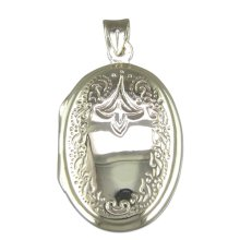 Sterling Silver Engraved Oval Locket On A Snake Necklace