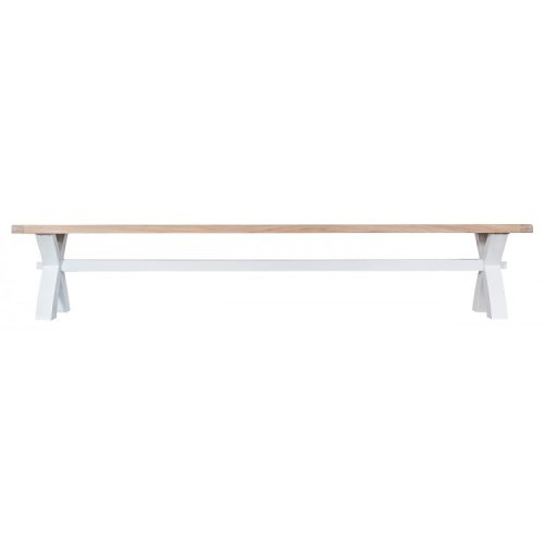 Tenby White Painted Furniture Large Cross Bench