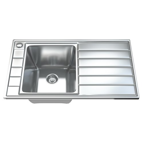 1041 1.0 Single Bowl Stainless Steel Kitchen Sink, Drainer & Waste