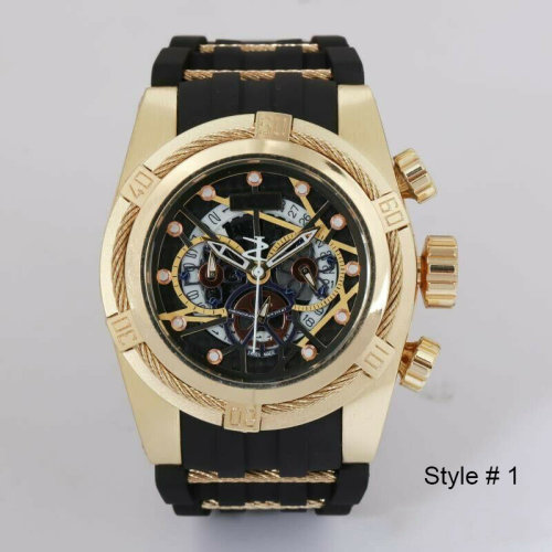Men Mechanical Analog Watch 4 Dials Rubber Strap Sports Wristwatch
