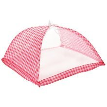Gingham Food Cover (40.5cm) - 405cm Large Folding Protector Net White Red Spots -  food cover 405cm large folding protector net white red spots