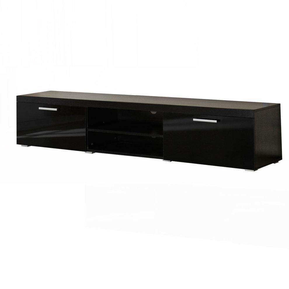 Homcom 2 Meter Long Modern Tv Cabinet Low Bench Stand Unit 2 High Gloss Doors Shelves Black On