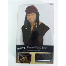 Adult's Brown Pirate Captain Wig -  wig pirate brown scarf fancy dress mens smiffys caribbean