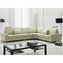 Left or Right Hand Leather Sectional Sofa - STOCKHOLM Beige