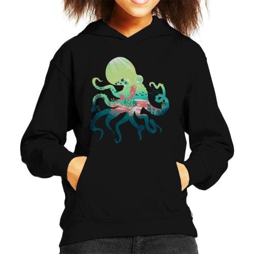 Octopus Mermaid Silhouette Kid's Hooded Sweatshirt