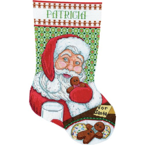 """Design Works Cross Stitch Stocking Kit 17"""" Long-Cookies For Santa (14 Count)"""