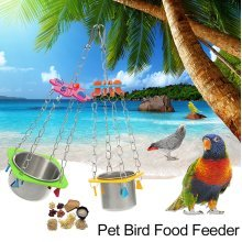 Parrot Bird Hanging Food Water Bowl