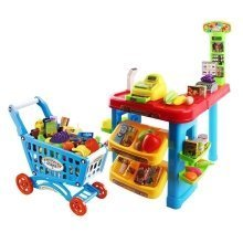 Supermarket Counter – Shop Stall with Shopping Cart and More Than 30 Accessories and Groceries Included