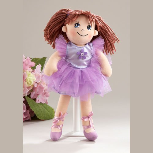 Delton Products Ballerina Doll Soft Cloth Doll with Purple Removable Clothes Yarn Hair 14