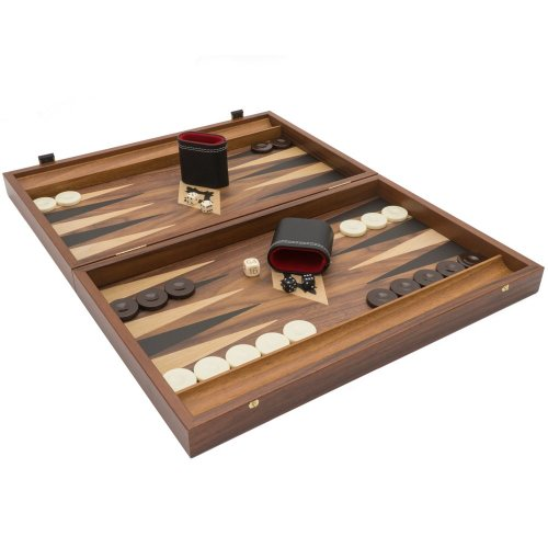 The Manopoulos Walnut Black and Oak Club Large Backgammon Set with Philos Deluxe Cups