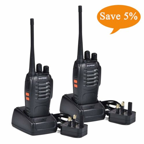 BF-888S Walkie Talkies long range Two Way Radio Handheld UHF 400-470MHz Transceiver Interphone With Rechargeable Li-ion Battery and LED Light Voice...