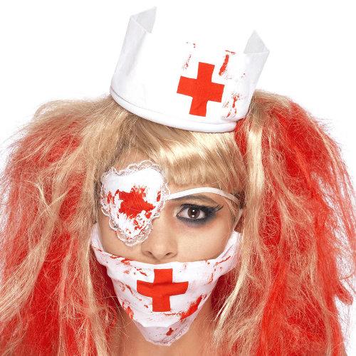 dc1ff3b802105 Bloody Nurse Kit, White, With Mask, Headpiece & Eyepatch, Blood Effect -  nurse kit bloody halloween fancy dress ladies zombie mask costume eyepatch  on OnBuy