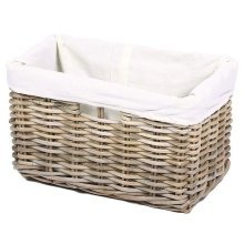 Oblong Rectangular Wicker Storage Basket with Cotton Lining