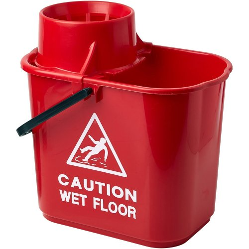2WORK Plastic Mop Bucket with Wringer, Red, 15 L
