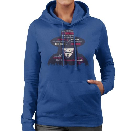 Enunciation Of Truth Quote Hat V For Vendetta Women's Hooded Sweatshirt