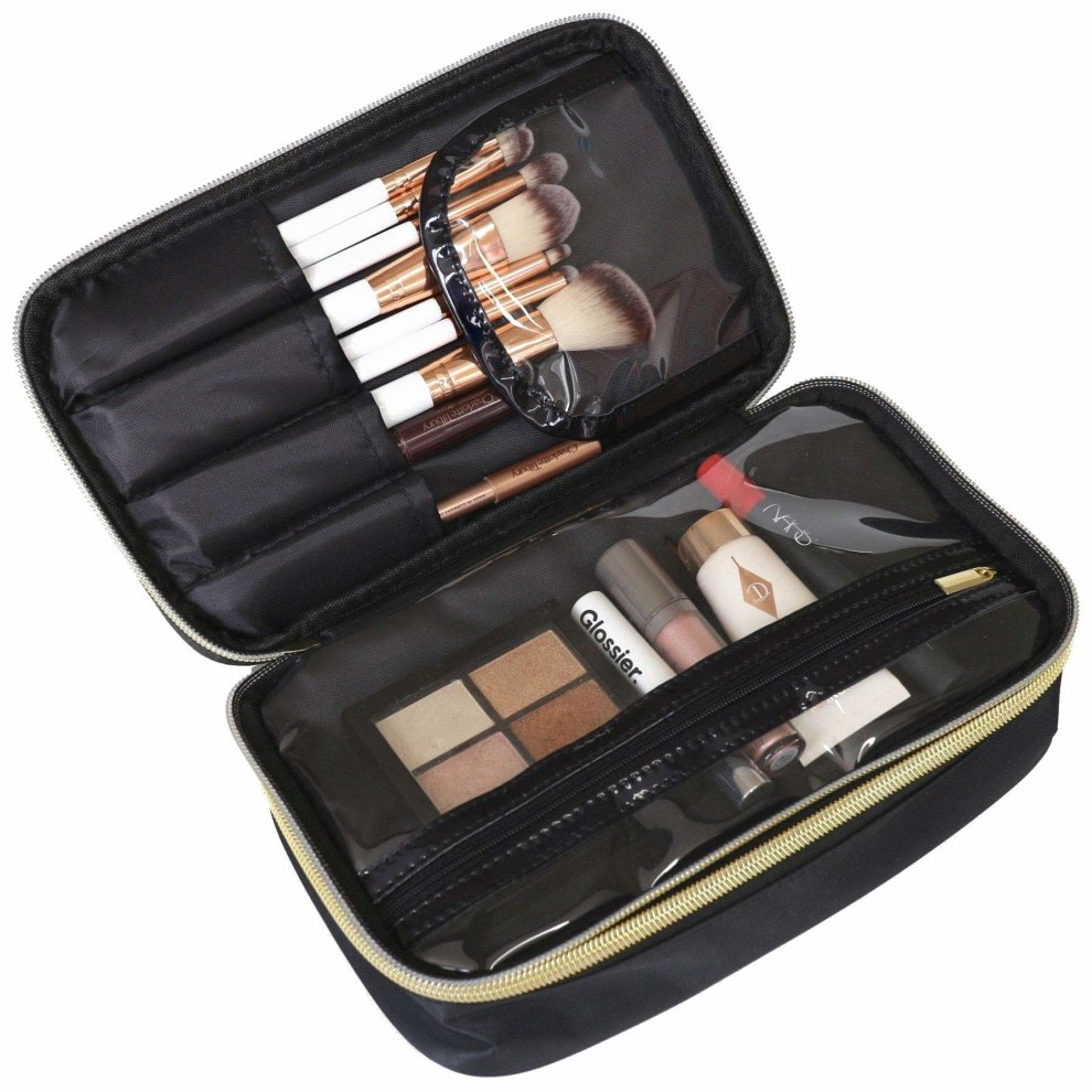 Lily England Makeup Bag Organiser Make Up Cosmetic Case With Compartments Black Gold