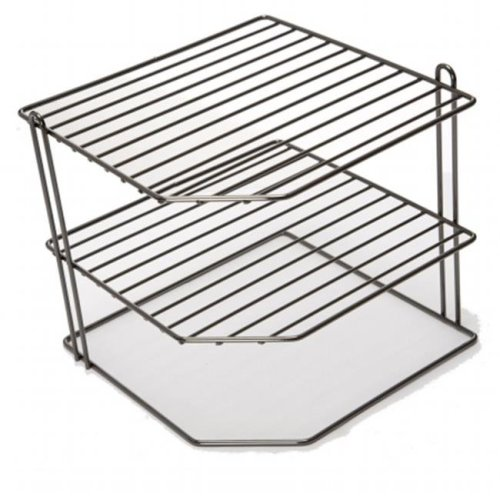 HDS Trading CS44512 Kitchen 3 Tier Corner Counter and Cabinet Wire Shelf, Onyx Chrome