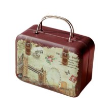 Rectangle Cute Pill Boxes Candy Metal Case Storage Box, Brown