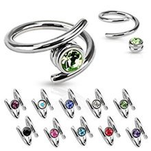 Crystal Ball Twist Surgical Steel Captive Bead Ring CBR Universal Piercing Body Jewellery