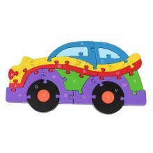 Funny Digital & Letter Wooden Blocks Puzzles Educational Puzzle Car