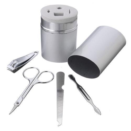 4Pcs/Kit Mini Portable Nail Clippers Manicure Tool Nails Care Set Eyebrow Scissors With Aluminum Box