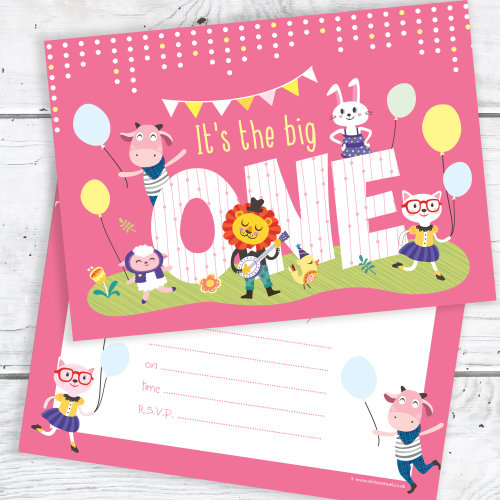 Pink 1st Birthday Party Invitations The Big One A6 Postcard Size With Envelopes Pack Of 10